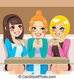 vrouwen pratende, op, coffeeshop