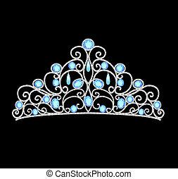 vrouwen, prinsessenkroon, kroon, trouwfeest, met, blauwe , stenen, en, parels
