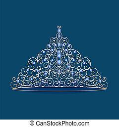 vrouwen, prinsessenkroon, kroon, trouwfeest, met, blauwe , stenen, op, een, blauwe
