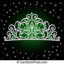 vrouwen, prinsessenkroon, kroon, trouwfeest, met, groene, stenen, en, de, sterretjes