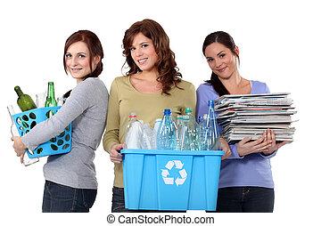 vrouwen, recycling, huiselijk, afval