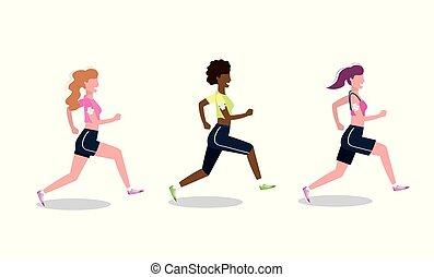 vrouwen, rennende , praktijk, set, activiteit
