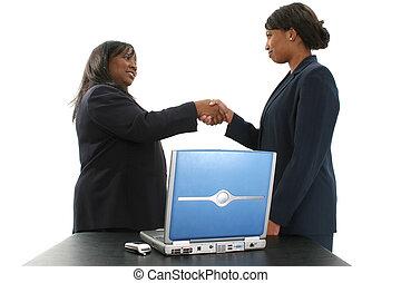 vrouwen, schudden, zakelijk