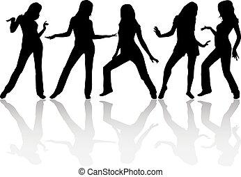 vrouwen, silhouettes