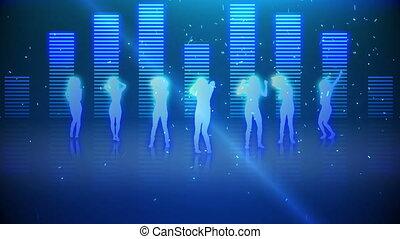 vrouwen, silhouettes, ha, dancing