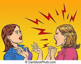 vrouwen, twee, krijs, boos