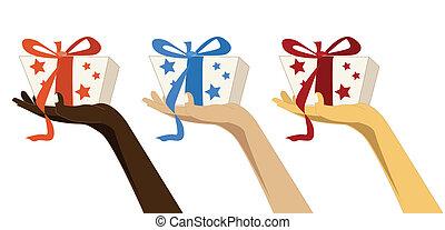 vrouwen, van, anders, rases, met, cadeau