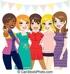 vrouwen, vrienden, feestje
