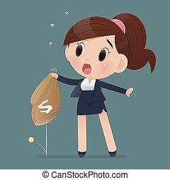 vrouwen, vrouw, zak, workwear, slecht, verliezen, economy., geld