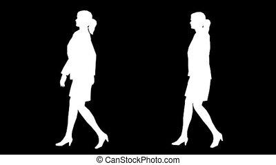 vrouwen, wandelende, silhouette, 01