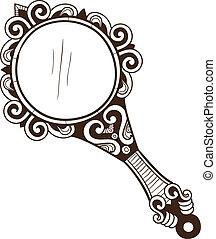 vrouwen, zak, spiegel.