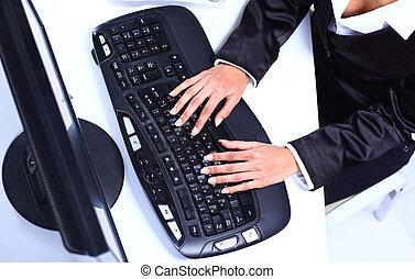 vrouwenhanden, het typen, op, computer toetsenbord