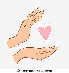 vrouwenhanden, zorgend voor, hart, vrijstaand, op wit