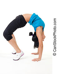 vrouwenholding, brug, stretching, pose