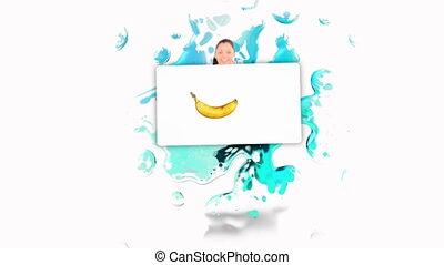 vrouwenholding, f, het glimlachen, poster