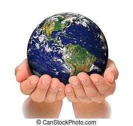 vrouwenholding, globe, op, haar, handen, zuiden, en,...