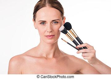vrouwenholding, positief, borstels, jonge, makeup