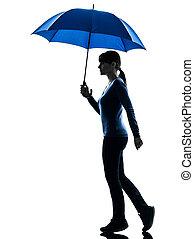 vrouwenholding, silhouette, paraplu