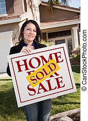 vrouwenholding, sold, vastgoed voorteken, voor, woning