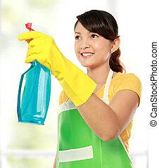 vrouwenholding, sprayer, poetsen, werktuig