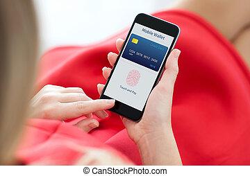 vrouwenholding, telefoon, met, vingerafdruk, voor, online boodschapend doend