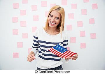 vrouwenholding, vrolijke , vaderlandslievend, ons vlag