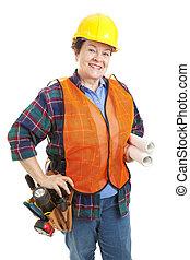 vrouwlijk, aannemer, bouwsector