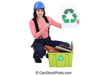 vrouwlijk, aannemer, recycling, afval
