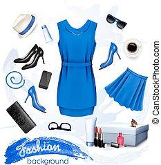 vrouwlijk, accessories., mode, collage