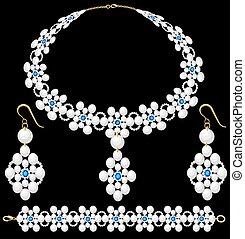 vrouwlijk, armband, hangers, illustratie, set, halssnoer, parel