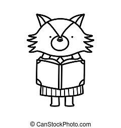 vrouwlijk, back, lijn, dik, vos, lezende , opleiding, school, schattig, boek
