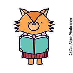 vrouwlijk, back, vos, lezende , opleiding, school, schattig, boek