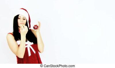 vrouwlijk, bal, kerstmis, kerstman, vasthouden
