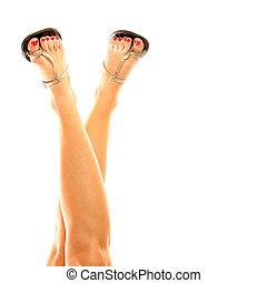 vrouwlijk, benen, in, sandalen