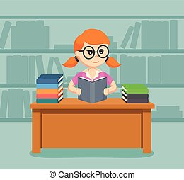 vrouwlijk, boek, lezende , student