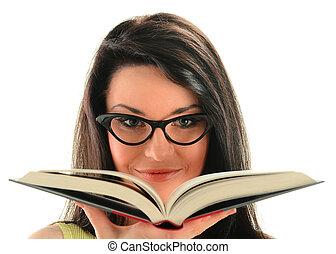vrouwlijk, boek, open, jonge, vasthouden