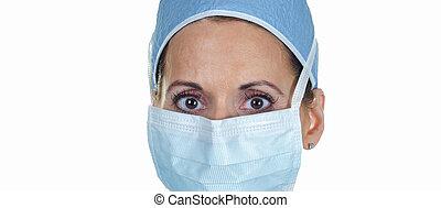 vrouwlijk, chirurg, aantrekkelijk