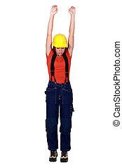 vrouwlijk, de arbeider van de bouw, hangend, in, lege, copyspace