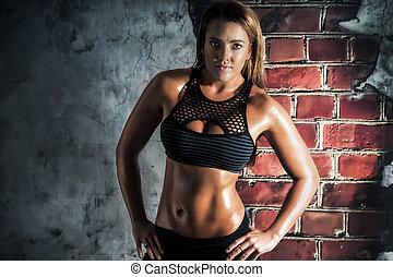 vrouwlijk, fitness, model, het poseren