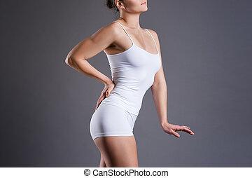 vrouwlijk, grijs, witte achtergrond, studio, ondergoed, vrouw, perfect, slank, lichaam