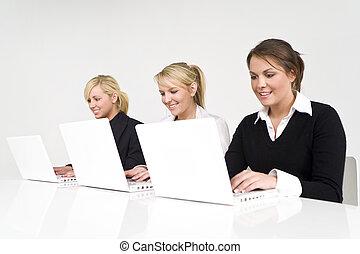 vrouwlijk, handel team