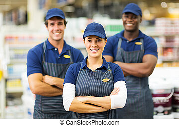 vrouwlijk, hardware winkel, arbeider, en, team