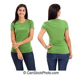vrouwlijk, het poseren, met, leeg, groen hemd