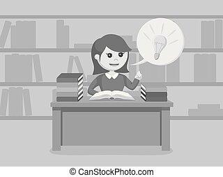 vrouwlijk, idee, terwijl, boek, student, gekregen, lezende