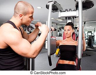vrouwlijk, in de gymnastiek, met, trainer