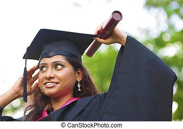 vrouwlijk, indiër, aziaat, student