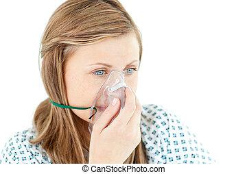 vrouwlijk, jonge patiënt, met, een, masker
