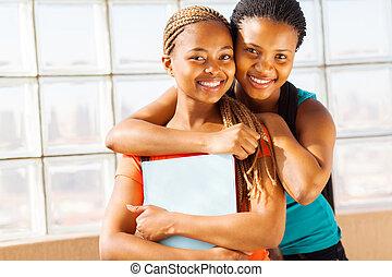 vrouwlijk, jonge, universiteit, vrienden