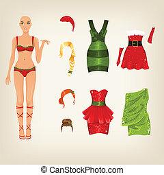 vrouwlijk, kerstmis, kleren
