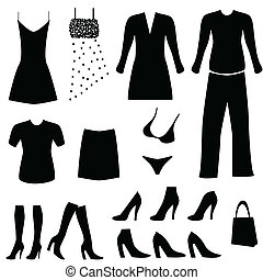 vrouwlijk, kleding, en, accessoires